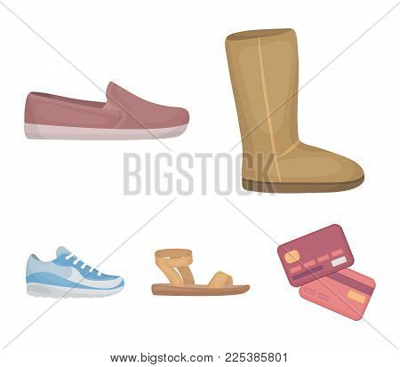 Beige Ugg Boots With Fur, Brown Loafers With A White Sole, Sandals With A Fastener, White And Blue S