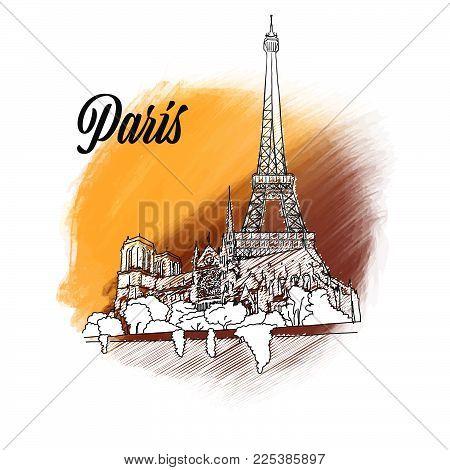 hand drawn outline illustration for print design and travel marketing