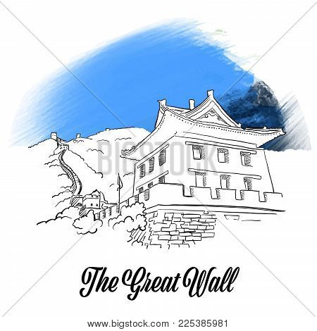 Great Wall Banner Sketch. Hand drawn outline illustration for print design and travel marketing