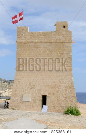 Blue Grotto, Malta - 3 November 2017: The Old Tower At Blue Grotto In The Malta Island