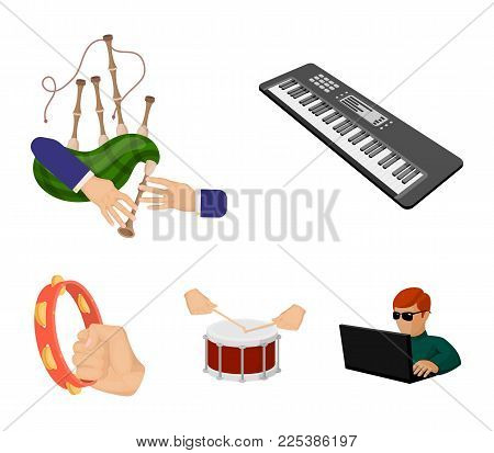 Synthesizer Melodies, Bagpipes Scotch And Other  Icon In Cartoon Style. Drum, Drum Roll, Tambourine