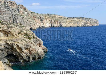 Blue Grotto, Malta - 3 November 2017: The Coast At Blue Grotto In The Malta Island
