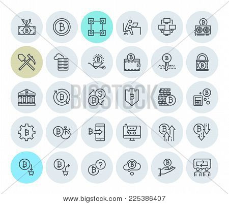 Cryptocurrency icons collection. Premium quality thin line icons set of blockchain technology, bitcoin, altcoins, mining, finance, digital money market, cryptocoin wallet, stock exchange.