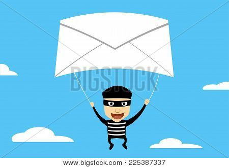 Theif use Phishing Mail to hacking, vector cartoon