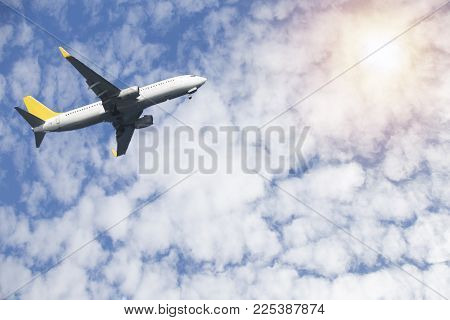 Airplane in the sky. Airplane in the sky. Copy space of business summer vacation and travel adventur
