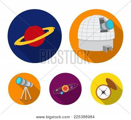 Observatory with radio telescope, planet Mars, Solar system with orbits of planets, telescope on tripod. Space set collection icons in flat style vector symbol stock illustration web.