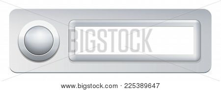 Doorbell with push button and blank name plate - isolated vector illustration on white background.