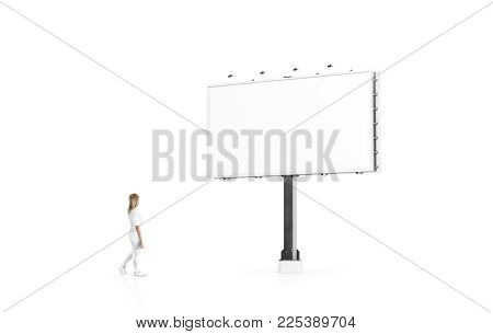 Woman Stand Beside Blank White Banner Mock Up On City Billboard. Empty Bill Board Mockup Isolated. C