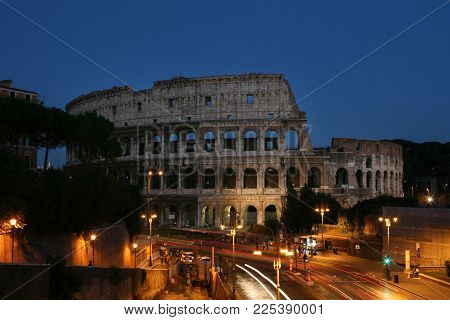 Summer. Italy. Rome. Night View Of The Colosseum