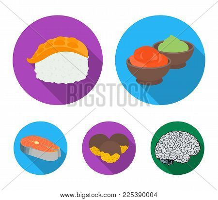 Wasabi sauce and ginger, salmon steak, octopus. Sushi set collection icons in flat style vector symbol stock illustration .