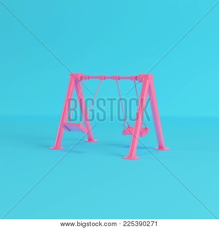 Red children swing on bright blue background in pastel colors. Minimalism concept. 3d rendering