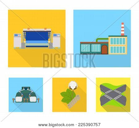 Factory, enterprise, buildings and other  icon in flat style. Textile, industry, fabric icons in set collection.