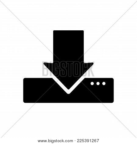 Download icon isolated on white background. Simple download server icon in flat style. Vector illustration.
