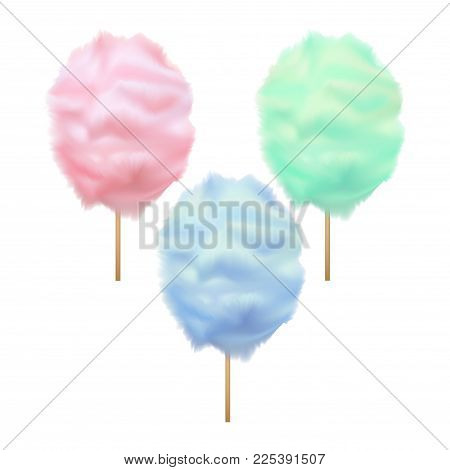 Realistic Detailed 3d Trendy Color Cotton Candy Set Sweet Sugar Dessert on Stick Summer Tasty Food. Vector illustration