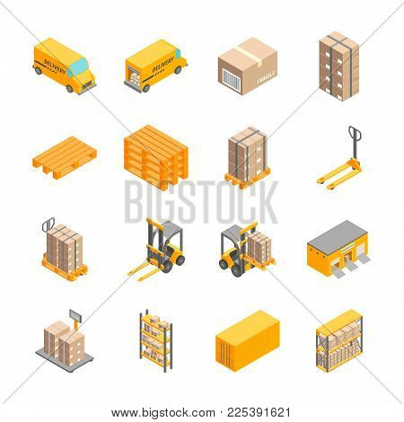 Logistic Delivery Cargo Service Signs Icons Set Isometric View Include of Warehouse, Shelves, Box and Loader. Vector illustration