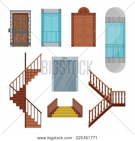 Cartoon Elevators and Stairs Set Different Types Interior Concept Flat Design Style. Vector illustration of Elevator and Stair