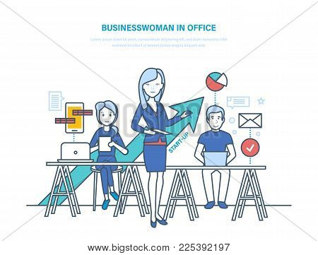 Businesswoman in office. Businesswoman and colleagues, growth business and career. Workflow control, project management, analysis of data, sucess in business. Illustration thin line design.