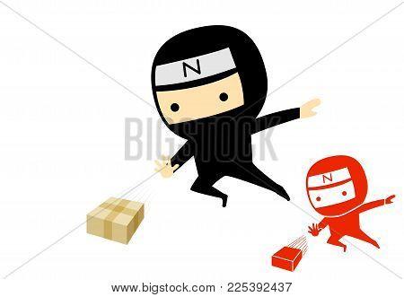 Ninja boy jump and send a product box, vector art design