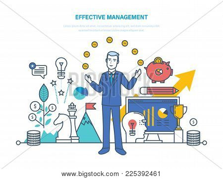 Effective management, organization of time and task management, business strategy, process control, result of activity, work process control, growth business and career. Illustration thin line design