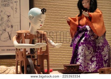 Tokyo, Japan - Apr 29 2017, 19th century Japanese Tea-serving mechanism doll
