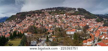 Aerial View Of The Village Metsovo In Epirus, Northern Greece