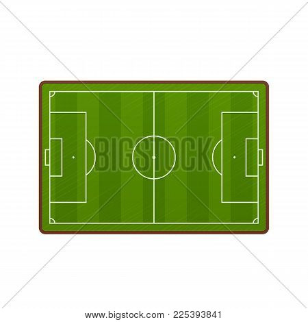 Realistic football field template, playground with green grass and landscapes. Layout, soccer playing field, playground front view, with markings and gates. Vector illustration.