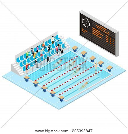Swimming Activity Sport Competition Concept 3d Isometric View Swimmers in Blue Water Pool. Vector illustration of Swim Race