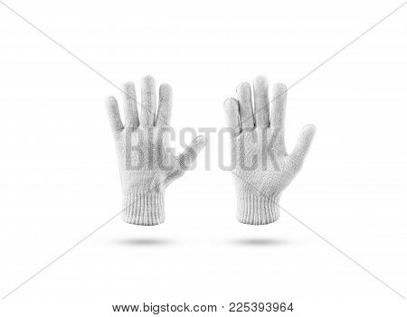 Blank Knitted Winter Gloves Mock Up Set, Front And Back Side View. Clear Ski Or Snowboard Mittens Mo