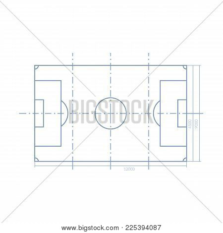 Scheme of realistic football field template, playground with grass and landscapes. Layout, soccer playing field, playground top view, with markings and gates. Vector illustration isolated.