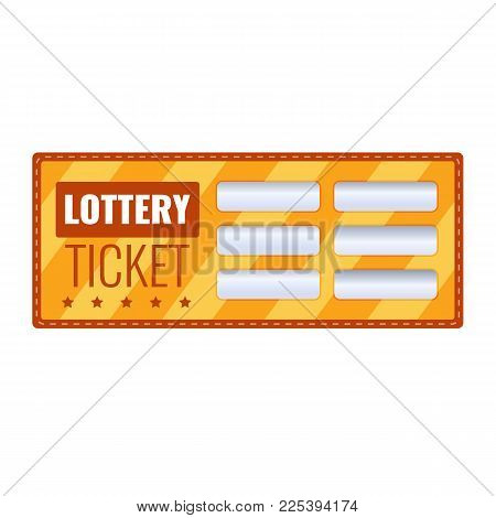 Lottery ticket for drawing money and prizes. Ticket for the event, the concept of financial success, growth, lottery luck, money well-being, fortune. Win game in lottery, winning. Vector illustration.