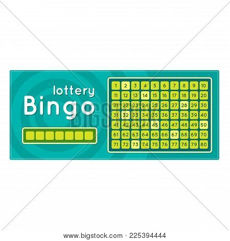 Lottery ticket for drawing money and prizes. Ticket for event, financial success, growth, luck, money well-being, fortune. Bingo game with numbers. Win in lottery, winning. Vector illustration.