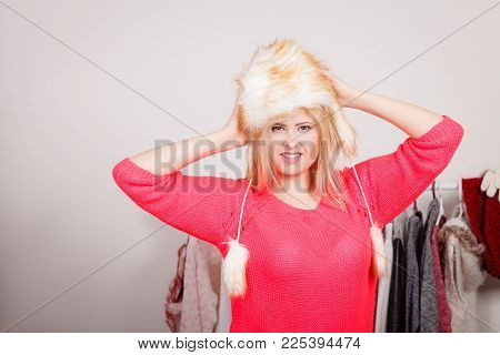 Outfit For Cold Days Ideas, Fashion And Clothing Concept. Attractive Smiling Blonde Woman In Wardrob