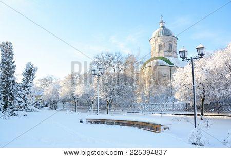 Old Greek Orthodox Church Of St John The Theologian  Coverd Snow, Sunrise Light  In Winter In Nizhyn