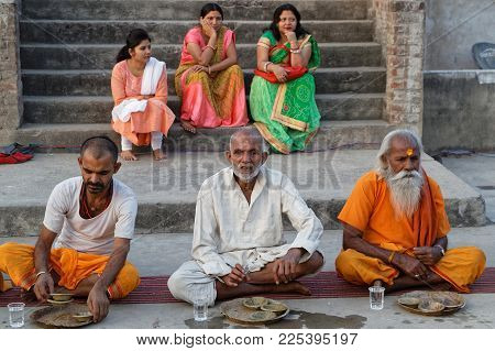 JAIPUR, INDIA, October 27, 2017 : Portrait of Sadhus. A sadhu is a religious ascetic, mendicant or any holy person in Hinduism and Jainism who has renounced the worldly life.