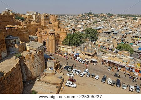 JAISALMER, INDIA, November 2, 2017 : Jaisalmer Fort entrance. Jaisalmer Fort is one of the largest fully preserved fortified cities in the world.