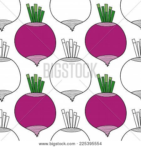 Vegetables, beets. Black and white illustration, seamless pattern for coloring book or page. Vector.