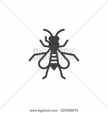 Wasp Insect Icon Vector, Filled Flat Sign, Solid Pictogram Isolated On White. Hornet Symbol, Logo Il