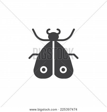 Moth Insect Icon Vector, Filled Flat Sign, Solid Pictogram Isolated On White. Mole Butterfly Symbol,