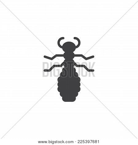 Flea Insect Icon Vector, Filled Flat Sign, Solid Pictogram Isolated On White. Louse Symbol, Logo Ill