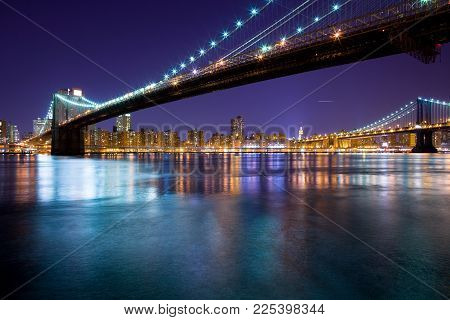 Brooklyn Bridge And Manhattan Bridge Over The East River, Manhattan, New York City, New York, United