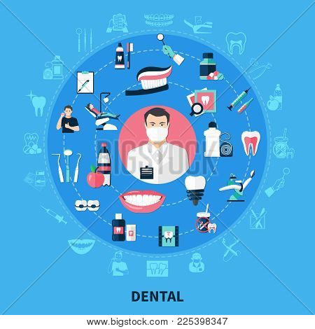 Dental Round Design Concept With Stomatological Equipment  Toothpaste  Bracket Dental Floss White Sm