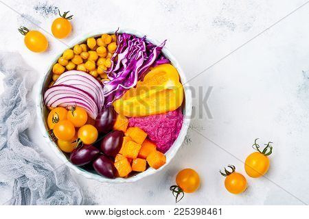 Mediterranean Buddha Bowl With Roasted Pumpkin, Olives, Turmeric Chickpeas, Beet Hummus, Shredded Re
