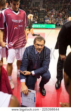 Samara, Russia - December 01: Bc Krasnye Krylia Head Coach Sergey Bazarevich During A Timeout Of The