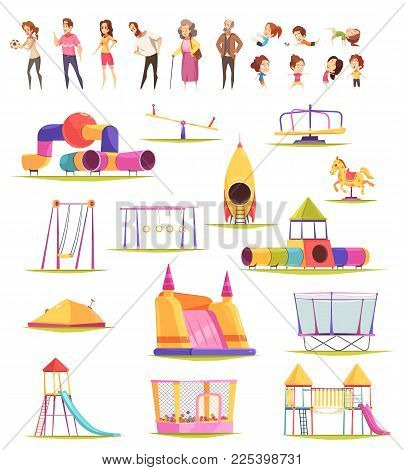 Children People Playground Set Of Isolated Playground Constructions And Doodle Human Characters Of K