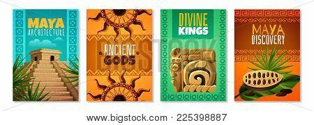 Maya Civilization Cartoon Posters With Divine Kings Ancient Gods Architecture Landmark Decorative Sy