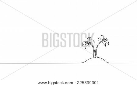 Single Continuous Line Art Coconut Tree Palm. Tropic Paradise Island Landscape Design One Sketch Out