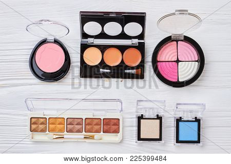 Decorative Cosmetics Set, Top View. Collection Of Make U Products With Multicolored Eyeshadows And B