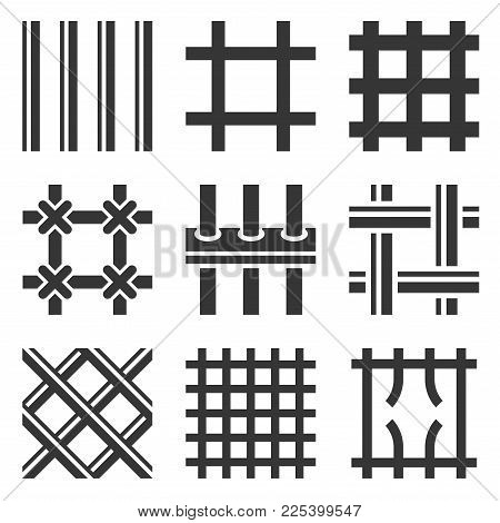 Prison Bars Icons Set On White Background. Vector Illustration