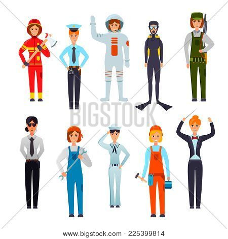 Women Professions Flat Character Set With Police Officer Firefighter Orchestra Conductor Navy Sailor