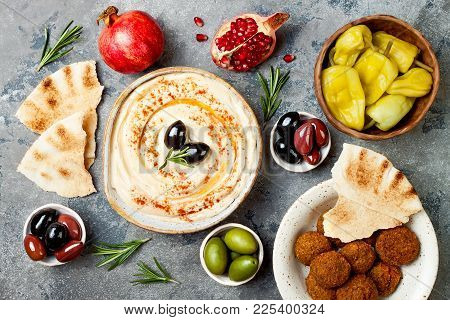 Middle Eastern Traditional Dinner. Authentic Arab Cuisine. Meze Party Food. Top View, Flat Lay, Over